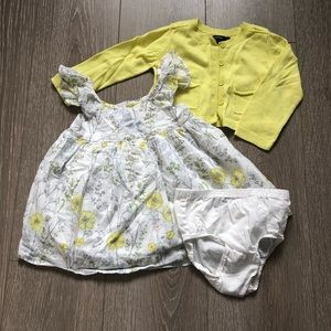 GAP Baby Girls Yellow Floral Dress w/Sweater
